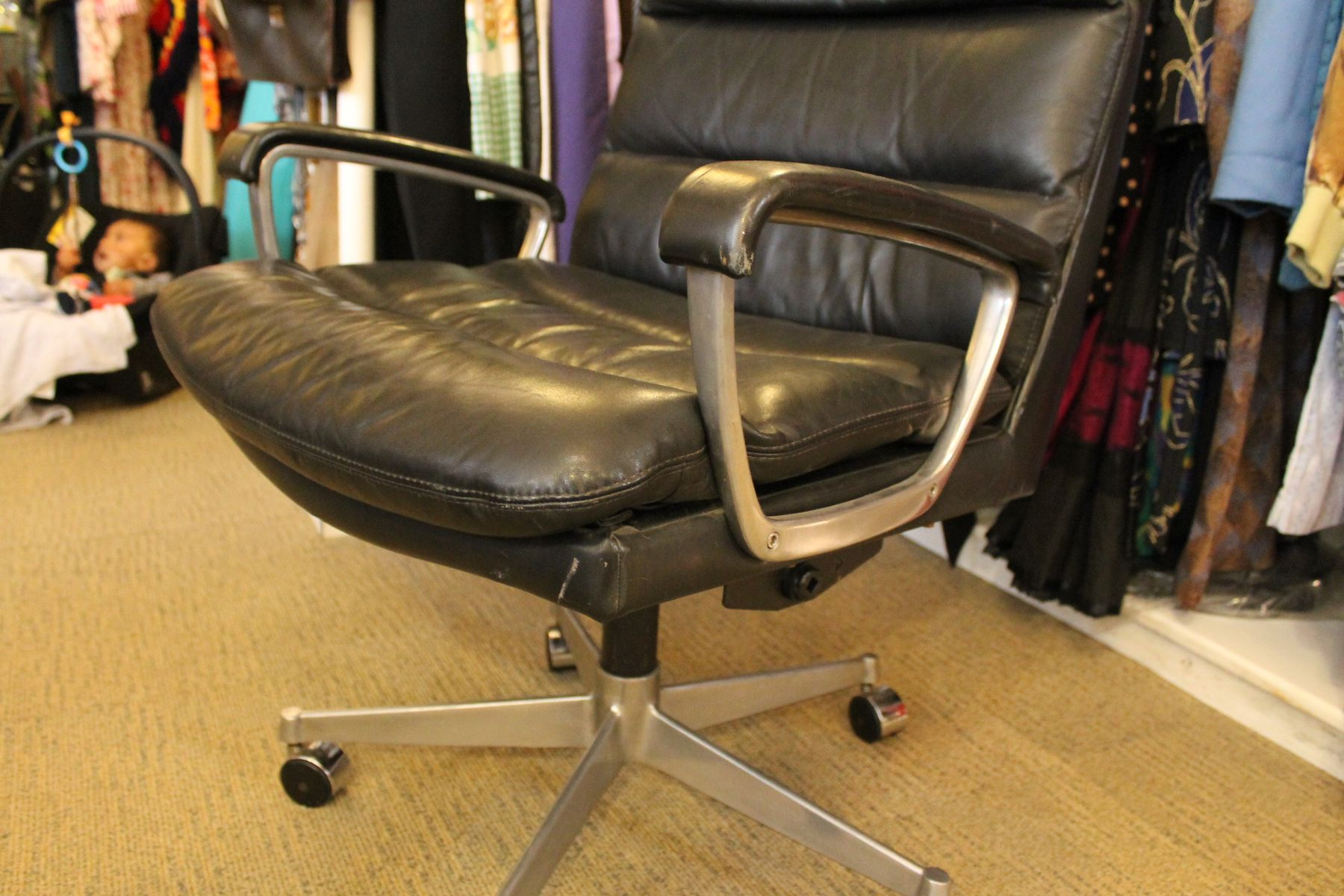 Leather & Chrome fice Chair from Ring Mekanikk 1958 for sale at