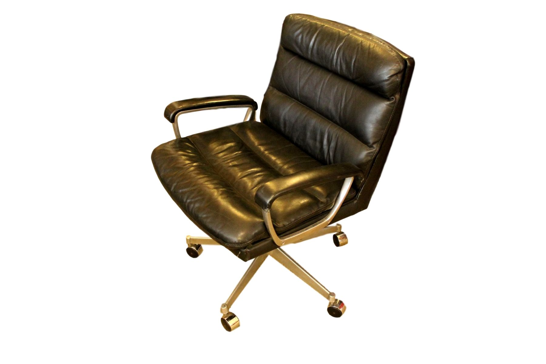 leather chrome office chair from ring mekanikk 1958 for