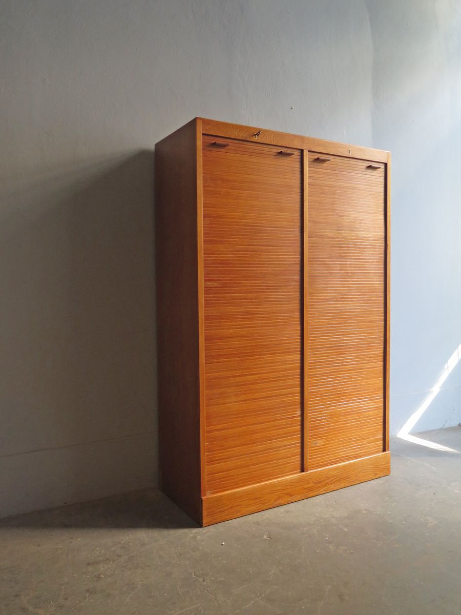 Mid-Century Oak Tambour Door Cabinet with Adjustable Shelves for ...