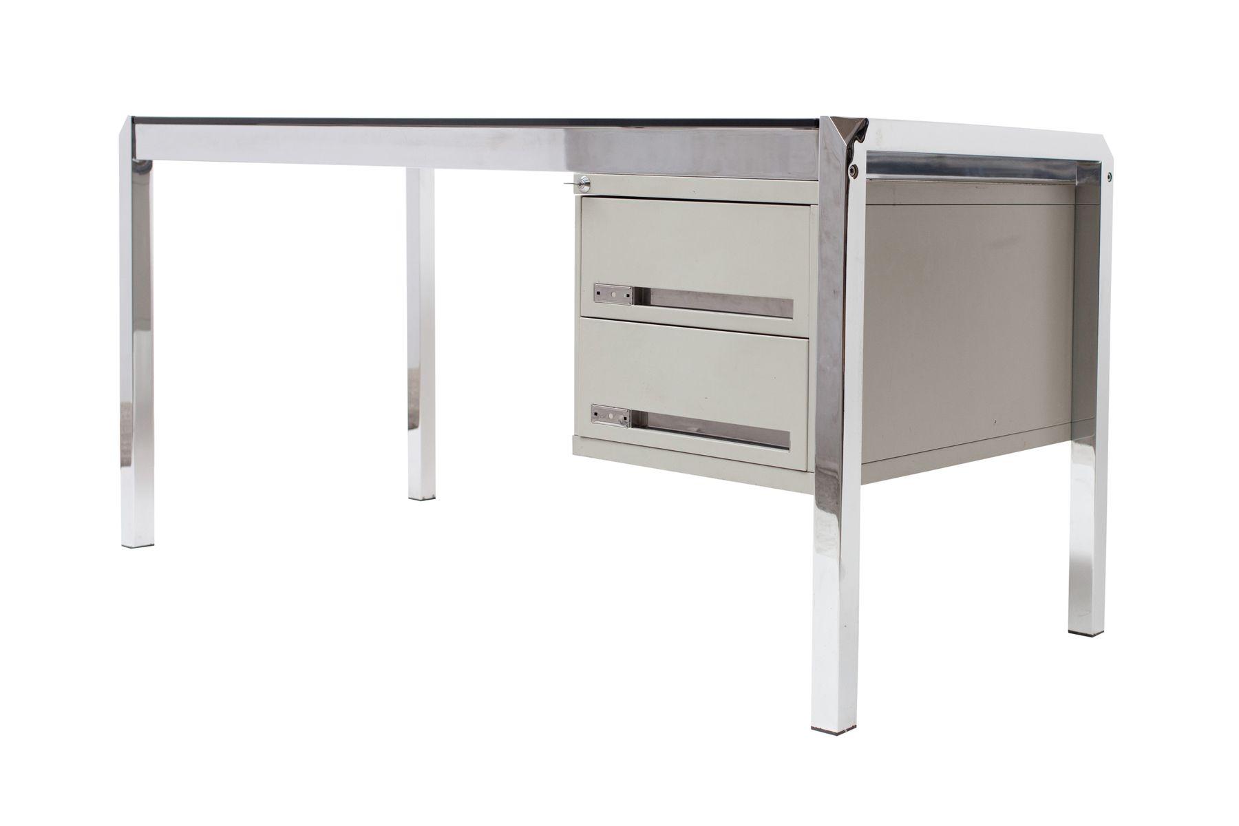 schreibtisch aus glas chrom von mario sabot 1970er bei. Black Bedroom Furniture Sets. Home Design Ideas