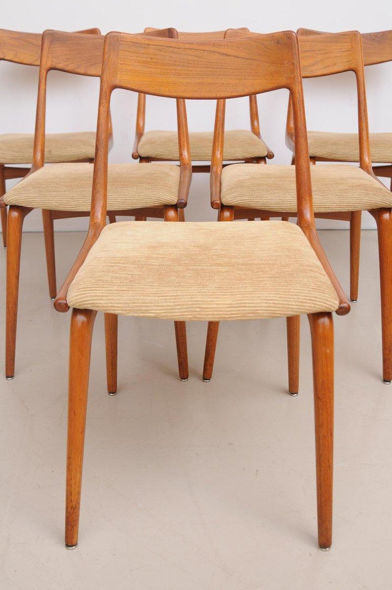 d nische vintage boomerang st hle aus teak von erik cristensen f r slagelse 6er set bei pamono. Black Bedroom Furniture Sets. Home Design Ideas