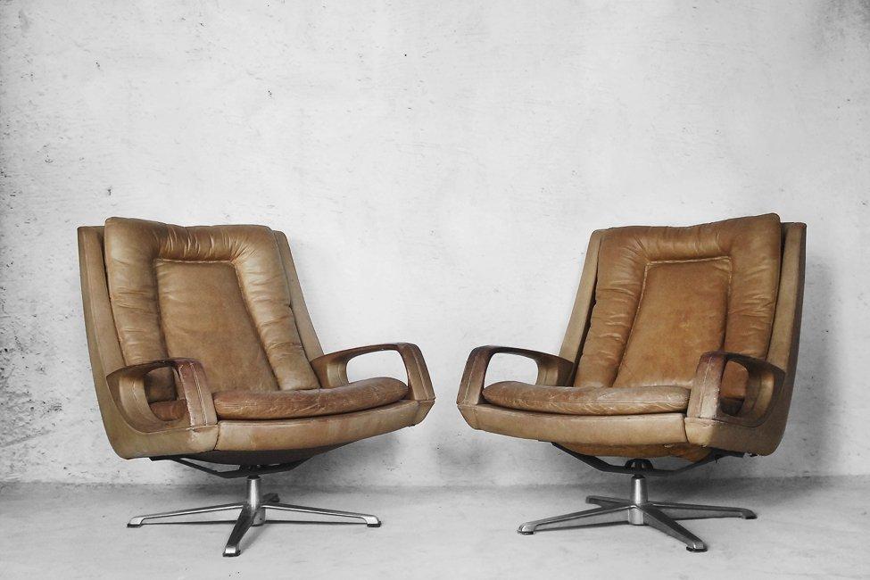 leder drehsessel von carl straub 1950er 2er set bei. Black Bedroom Furniture Sets. Home Design Ideas