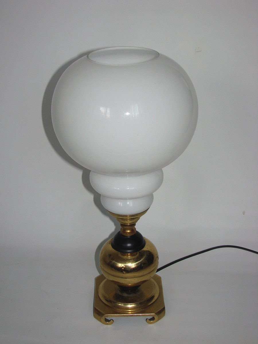 Brass Amp Glass Table Lamp 1960s For Sale At Pamono