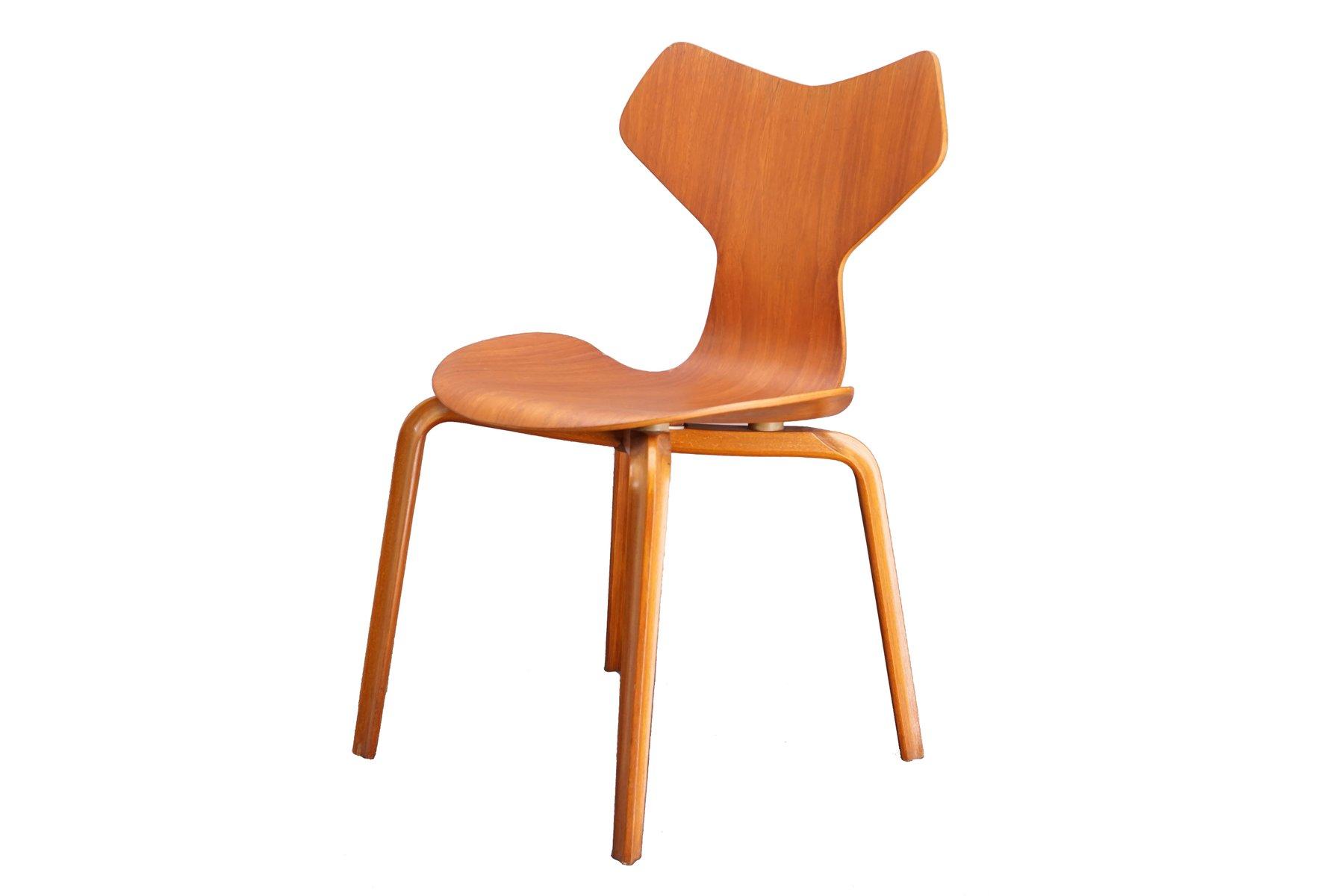 Teak Grand Prix Chair by Arne Jacobsen for Fritz Hansen 1960s for