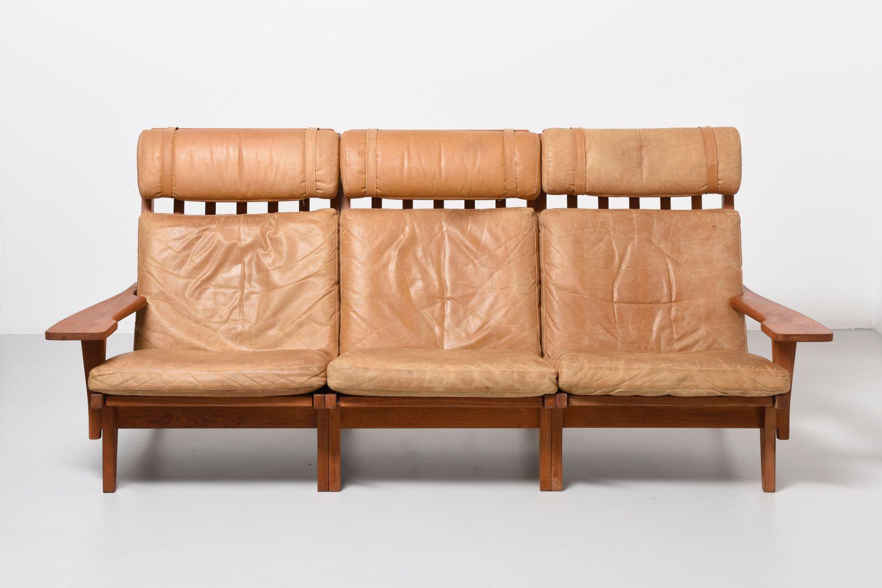 Mid Century GE 375 3 Three Seater Sofa by Hans J Wegner for