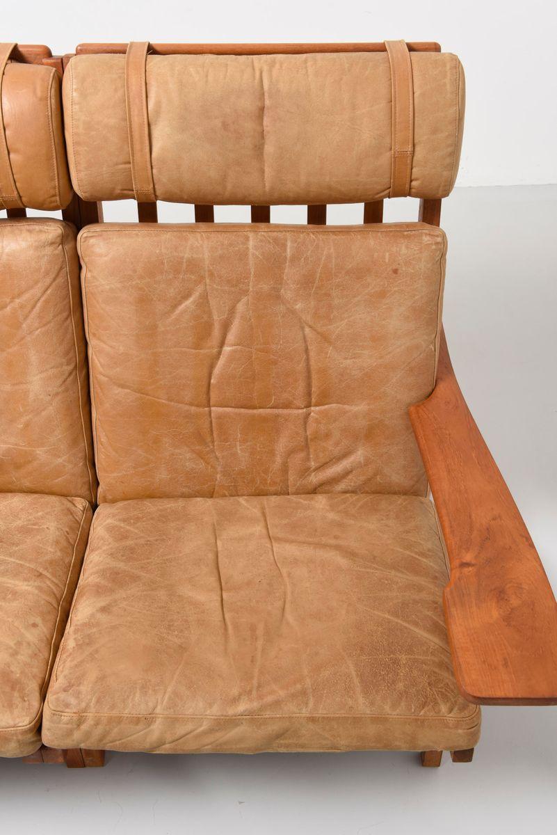 canap trois places ge 375 3 mid century en teck par hans. Black Bedroom Furniture Sets. Home Design Ideas