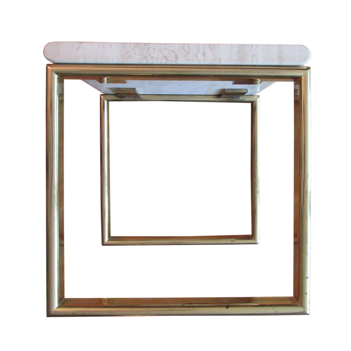 Travertine And Brass Nesting Tables Set Of 3 For Sale At