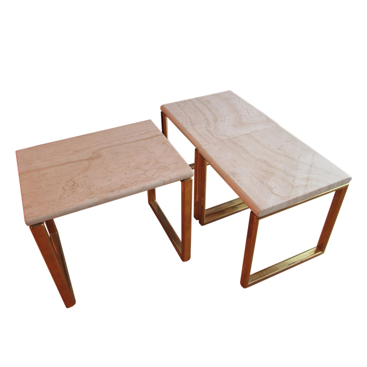 Tables gigognes en travertin et laiton set de 3 en vente for Table de 3 et 4