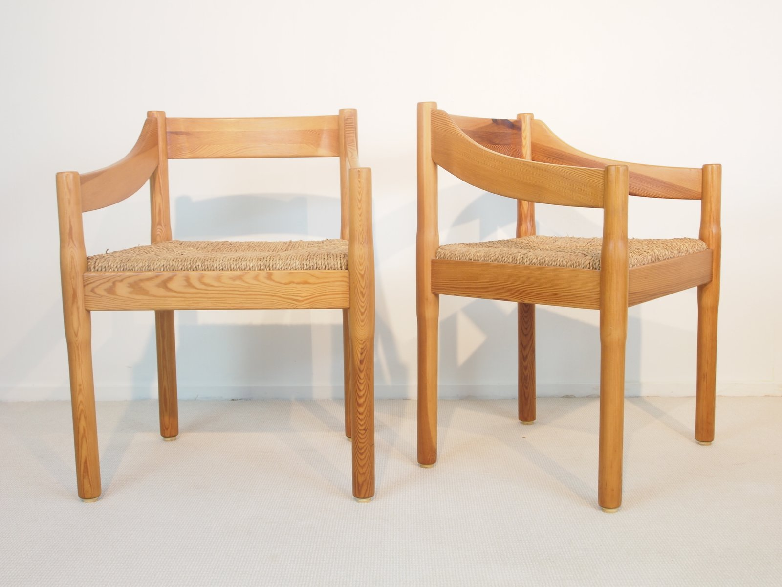 Carimate Pine Dining Chairs by Vico Magistretti for Cassina Set