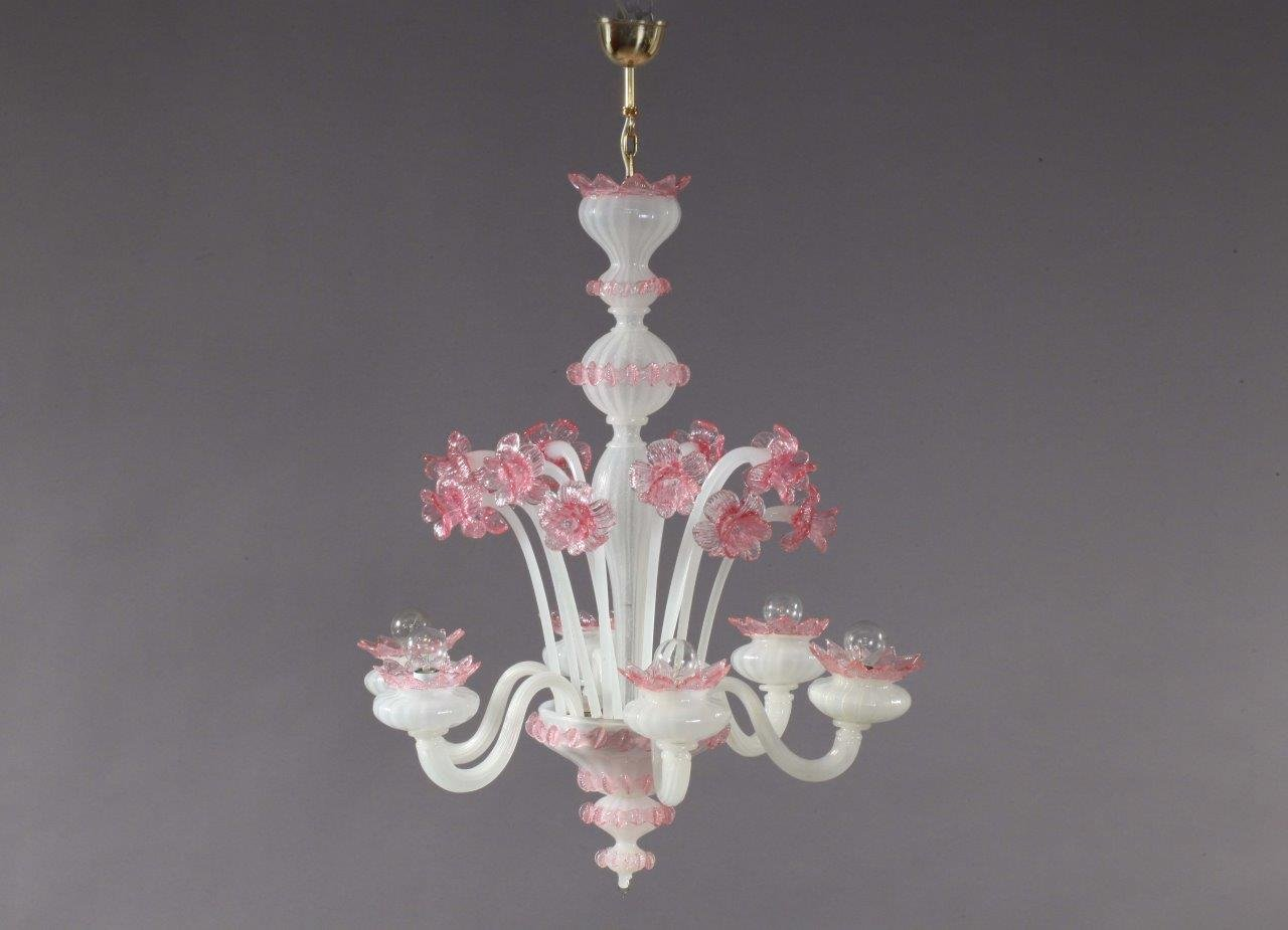 Pink and white blown glass chandelier from murano 1940s Blown glass chandelier