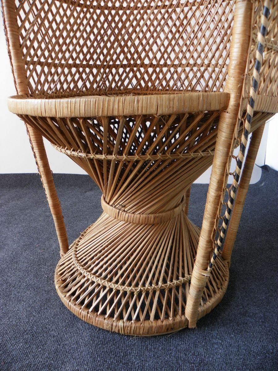 gro er vintage peacock sessel aus korbgeflecht 1970er bei pamono kaufen. Black Bedroom Furniture Sets. Home Design Ideas