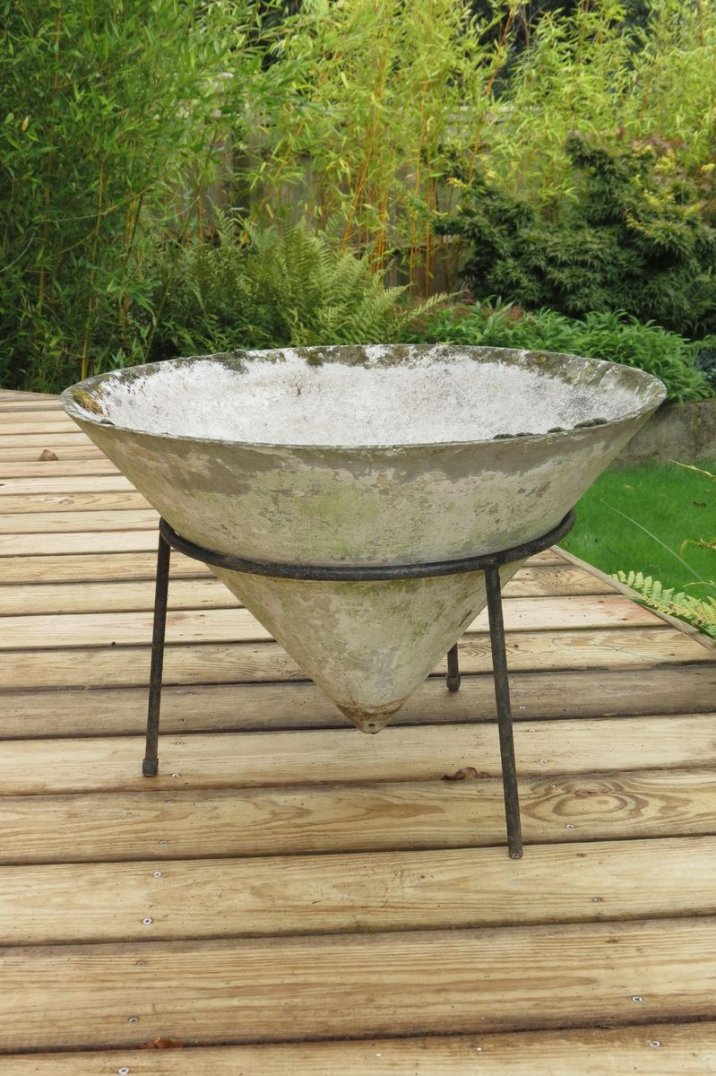 Reinforced Concrete Conical Planters 1960s Set Of 2 For