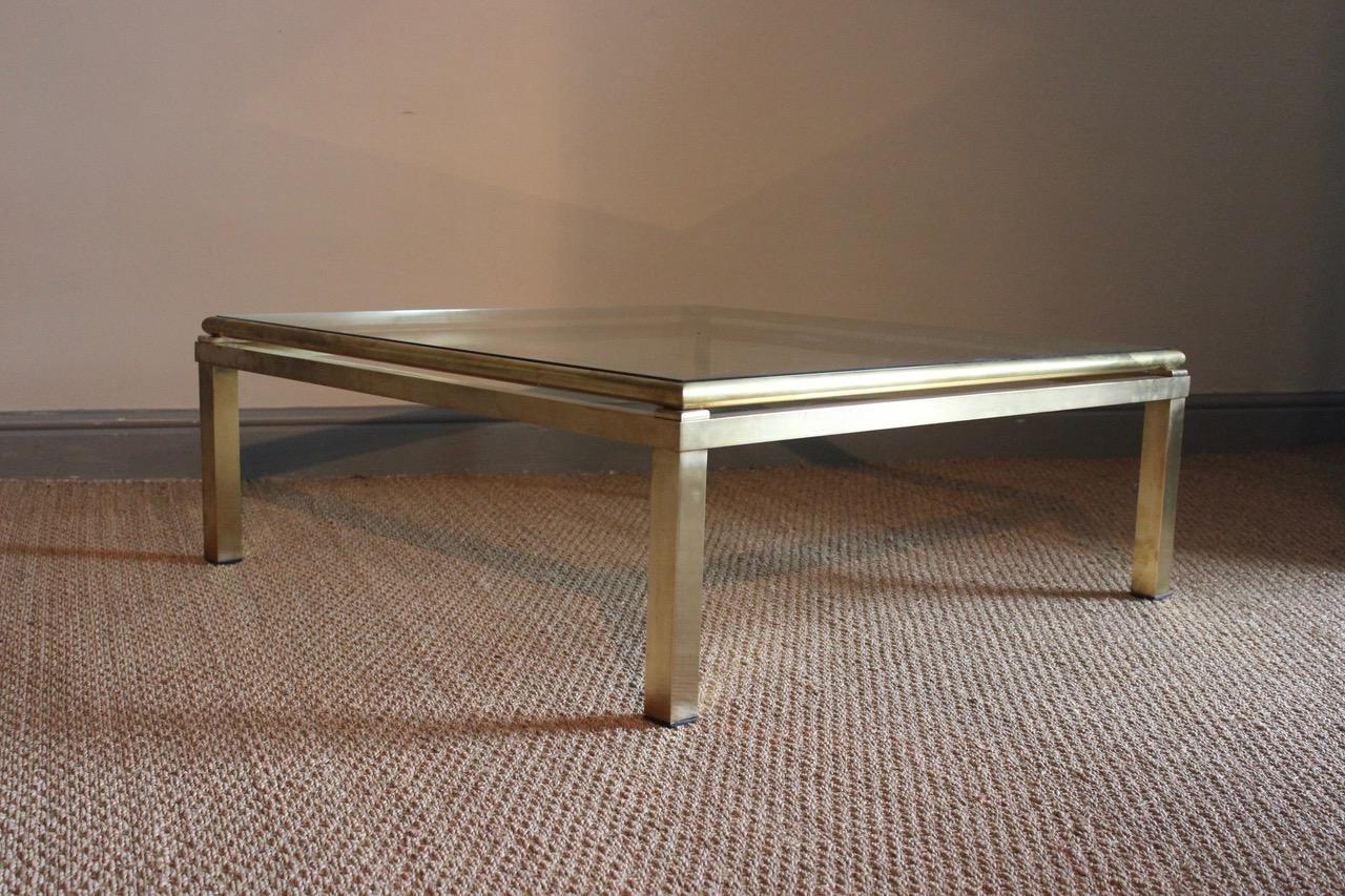 quadratisches messing couchtisch 1960er bei pamono kaufen. Black Bedroom Furniture Sets. Home Design Ideas