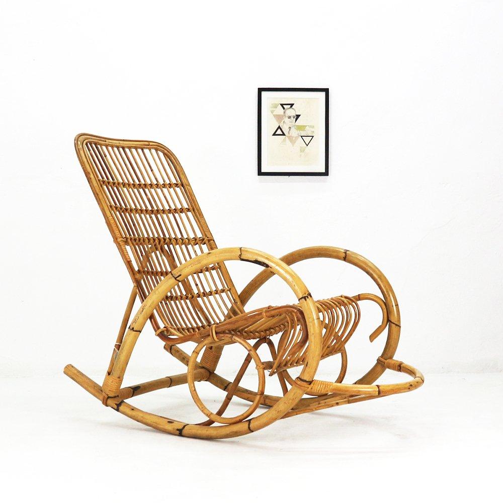 rocking chair en rotin 1960s en vente sur pamono. Black Bedroom Furniture Sets. Home Design Ideas