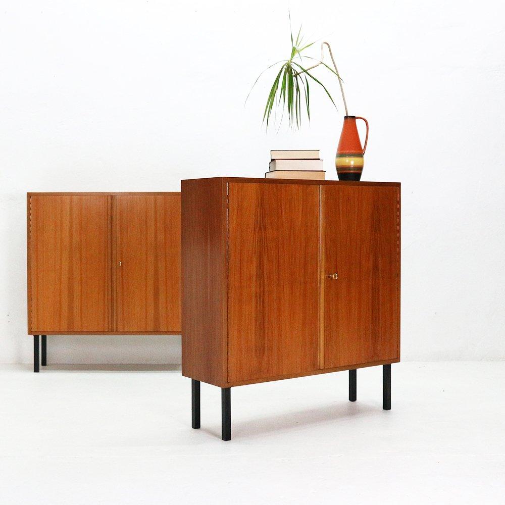 kleines highboard aus walnuss stahl von wk m bel 1960er bei pamono kaufen. Black Bedroom Furniture Sets. Home Design Ideas