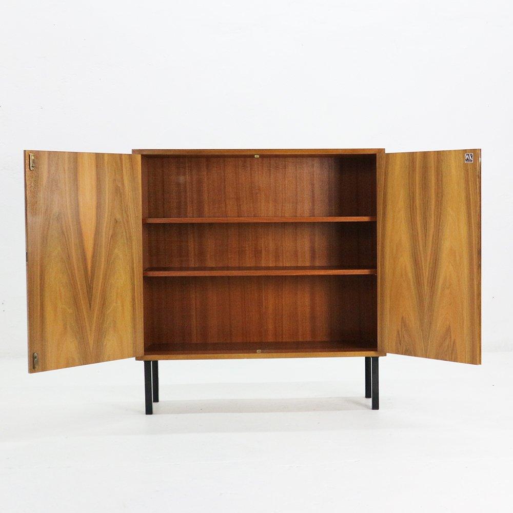 kleines highboard aus walnuss stahl von wk m bel 1960er. Black Bedroom Furniture Sets. Home Design Ideas
