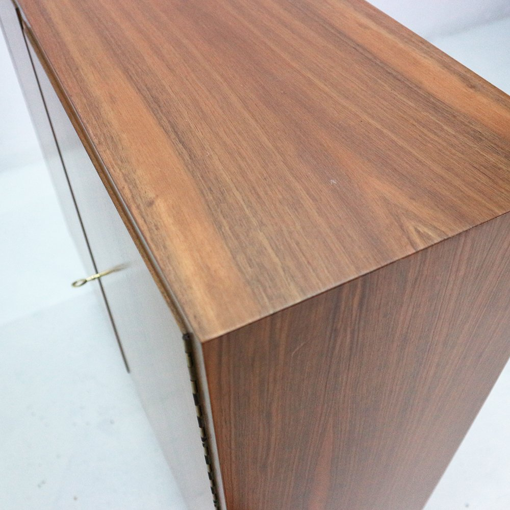 small walnut and steel highboard from wk m bel 1960s for. Black Bedroom Furniture Sets. Home Design Ideas