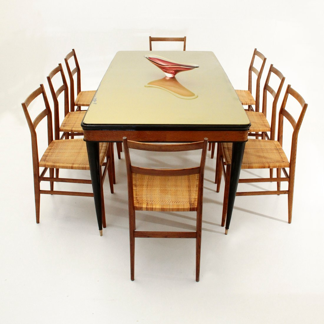 italian dining table with glass top 1950s for sale at pamono. Black Bedroom Furniture Sets. Home Design Ideas