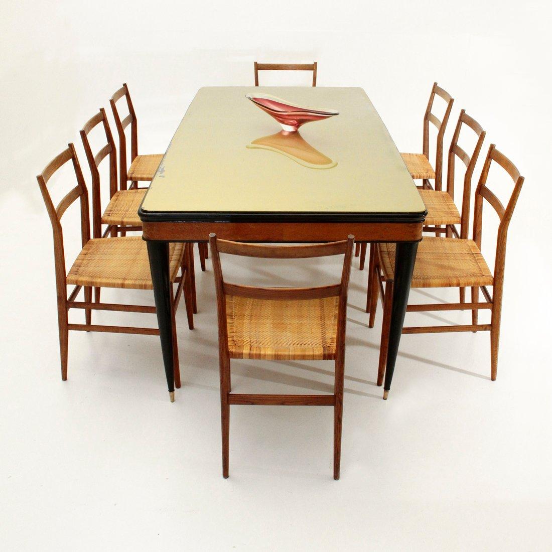Italienischer esstisch mit glasplatte 1950er bei pamono for Esstisch italienischer stil