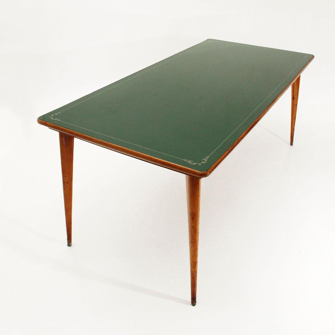 Italienischer esstisch mit gr ner glasplatte 1950er bei - Esstisch verspiegelt ...