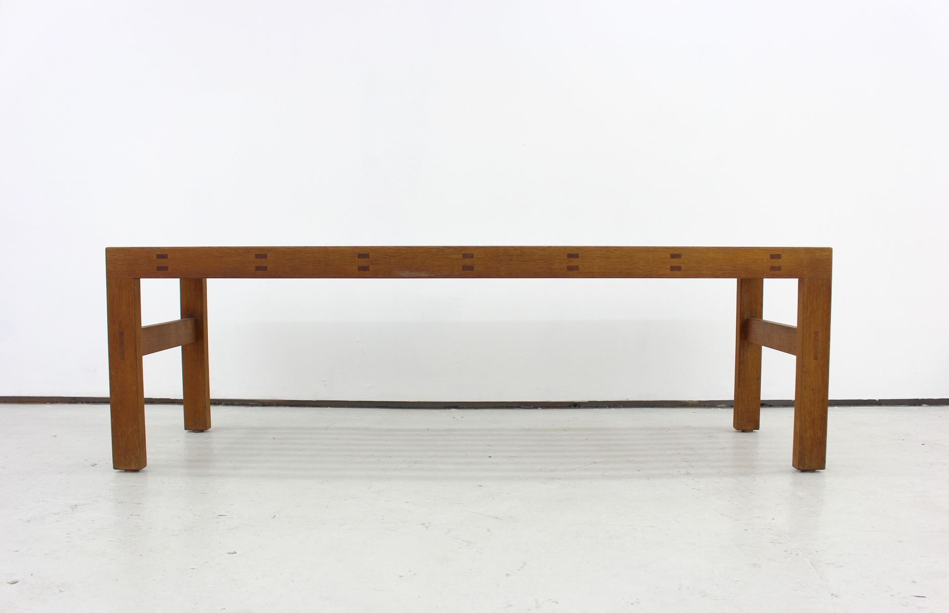 Vintage Solid Oak Slatted Bench Or Coffee Table 1950s For Sale At Pamono