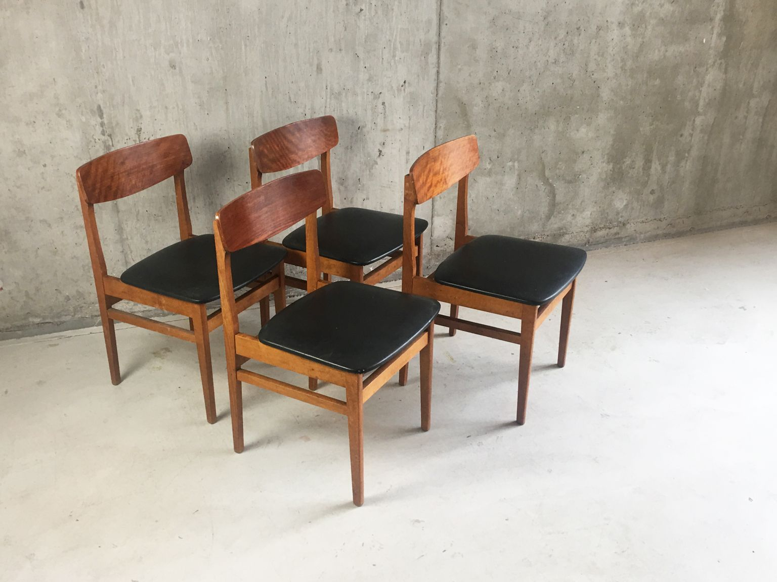 Mid Century Czech Black Vinyl And Teak Dining Chairs By