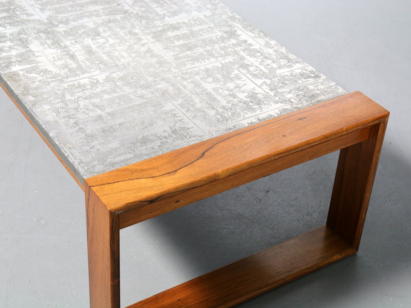 Price per piece. Brutalist Aluminum   Wood Coffee Table  1970s for sale at Pamono