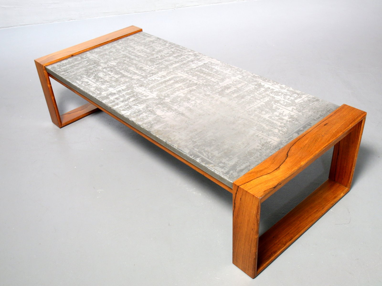 Brutalist Aluminum Wood Coffee Table 1970s For Sale At Pamono