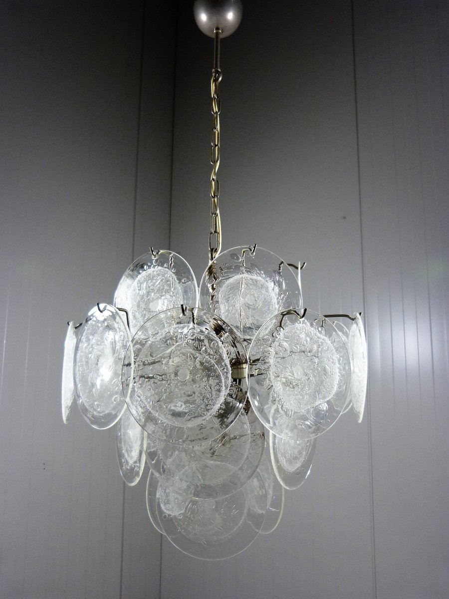 Vintage glass disc chandelier from vistosi for sale at pamono vintage glass disc chandelier from vistosi aloadofball Gallery