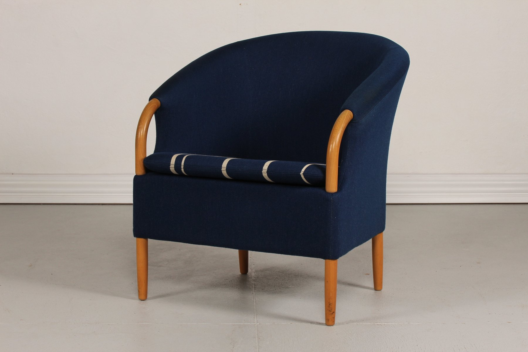 Danish Opus Chair with Blue Wool Upholstery by Jeki M¸bler 1980s