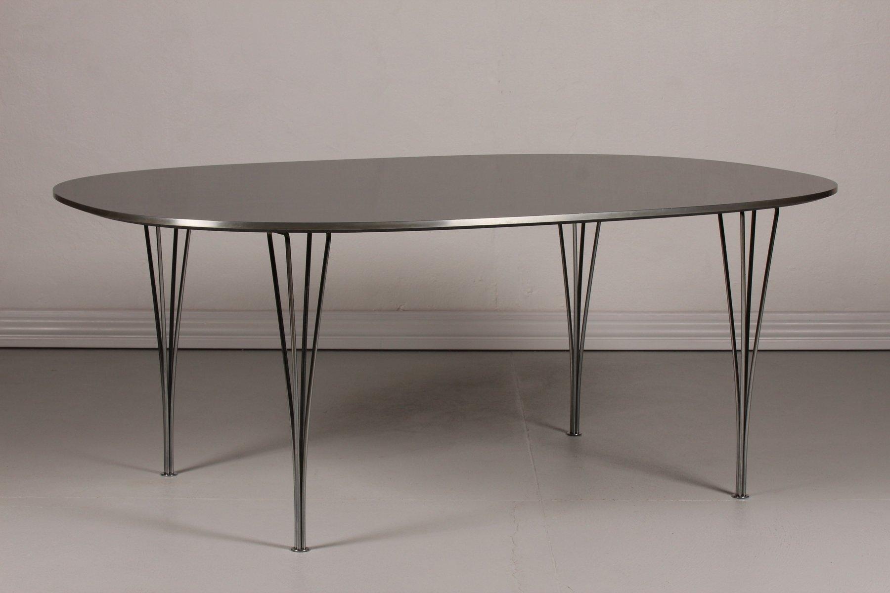d nischer super elips tisch mit schwarzer tischplatte von. Black Bedroom Furniture Sets. Home Design Ideas