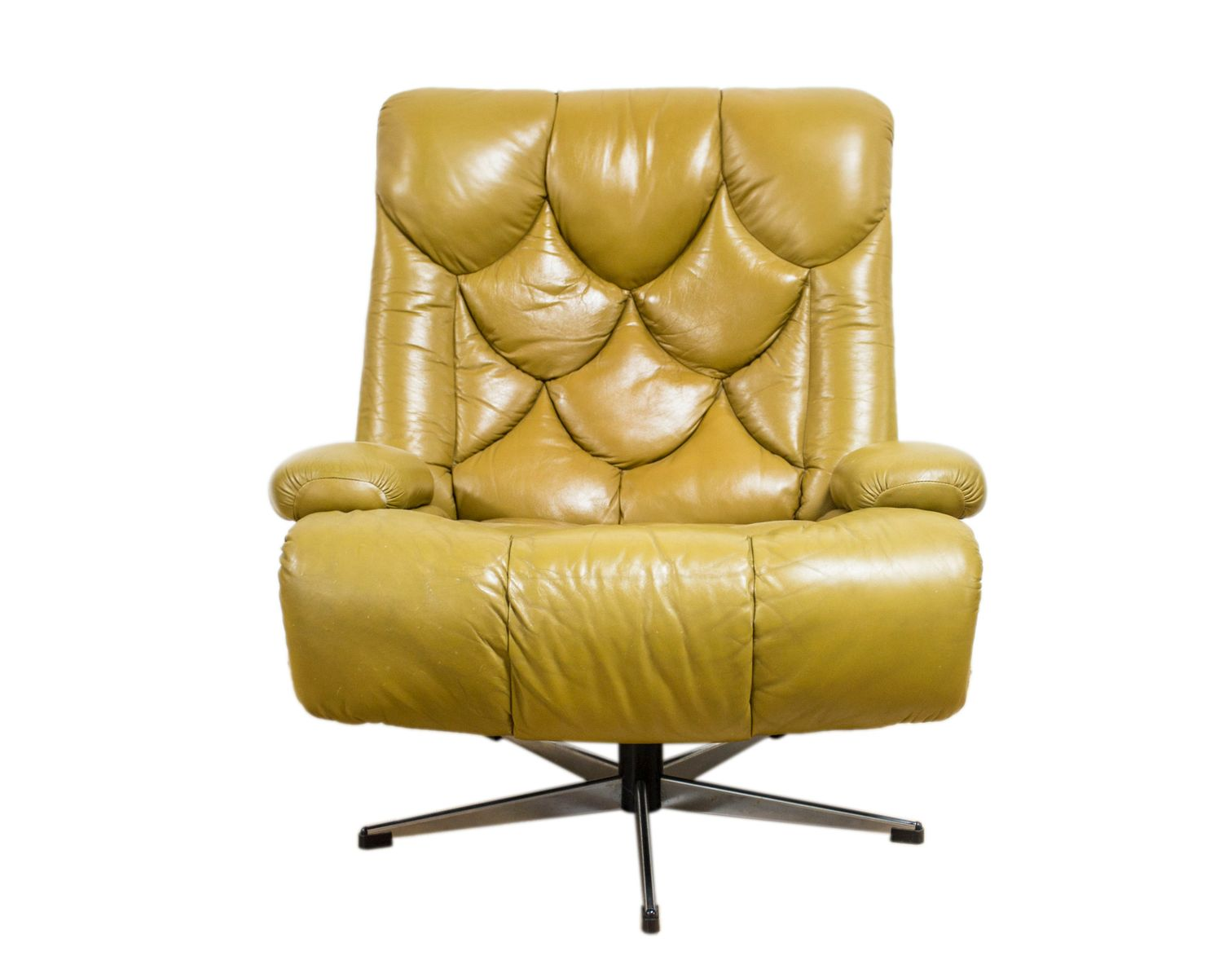 Vintage Danish Brown Leather Swivel Armchair for sale at Pamono