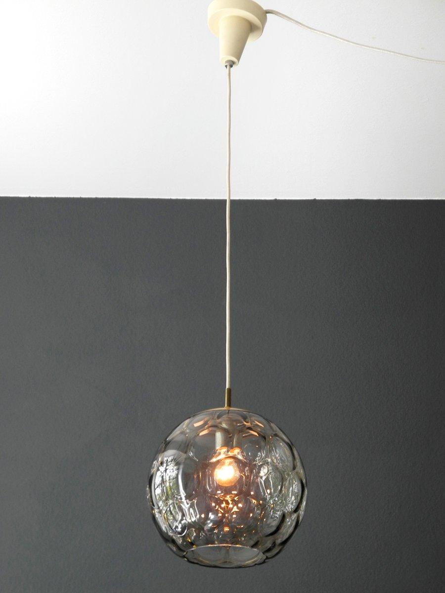 Mid century modern smoked glass pendant lamp from limburg for Mid century modern hanging lamp