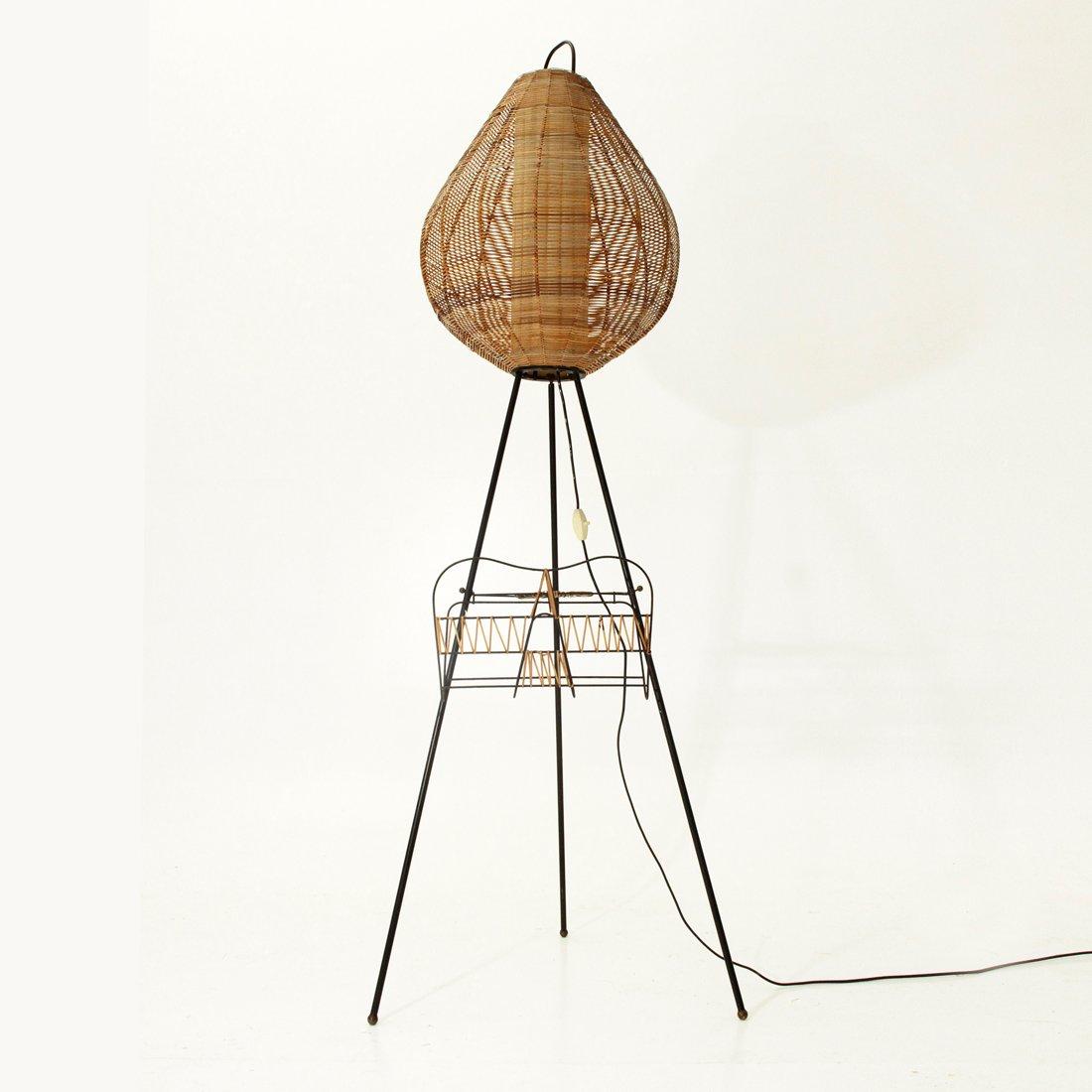 dreifu stehlampe mit leuchte aus schilfrohr 1950er bei pamono kaufen. Black Bedroom Furniture Sets. Home Design Ideas