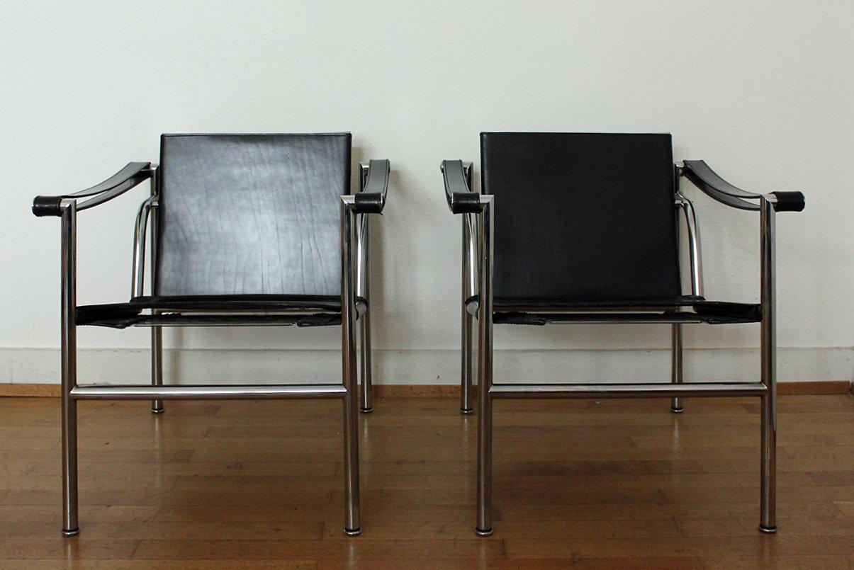 lc1 sessel von le corbusier pierre jeanneret charlotte perriand f r cassina 1960er bei. Black Bedroom Furniture Sets. Home Design Ideas