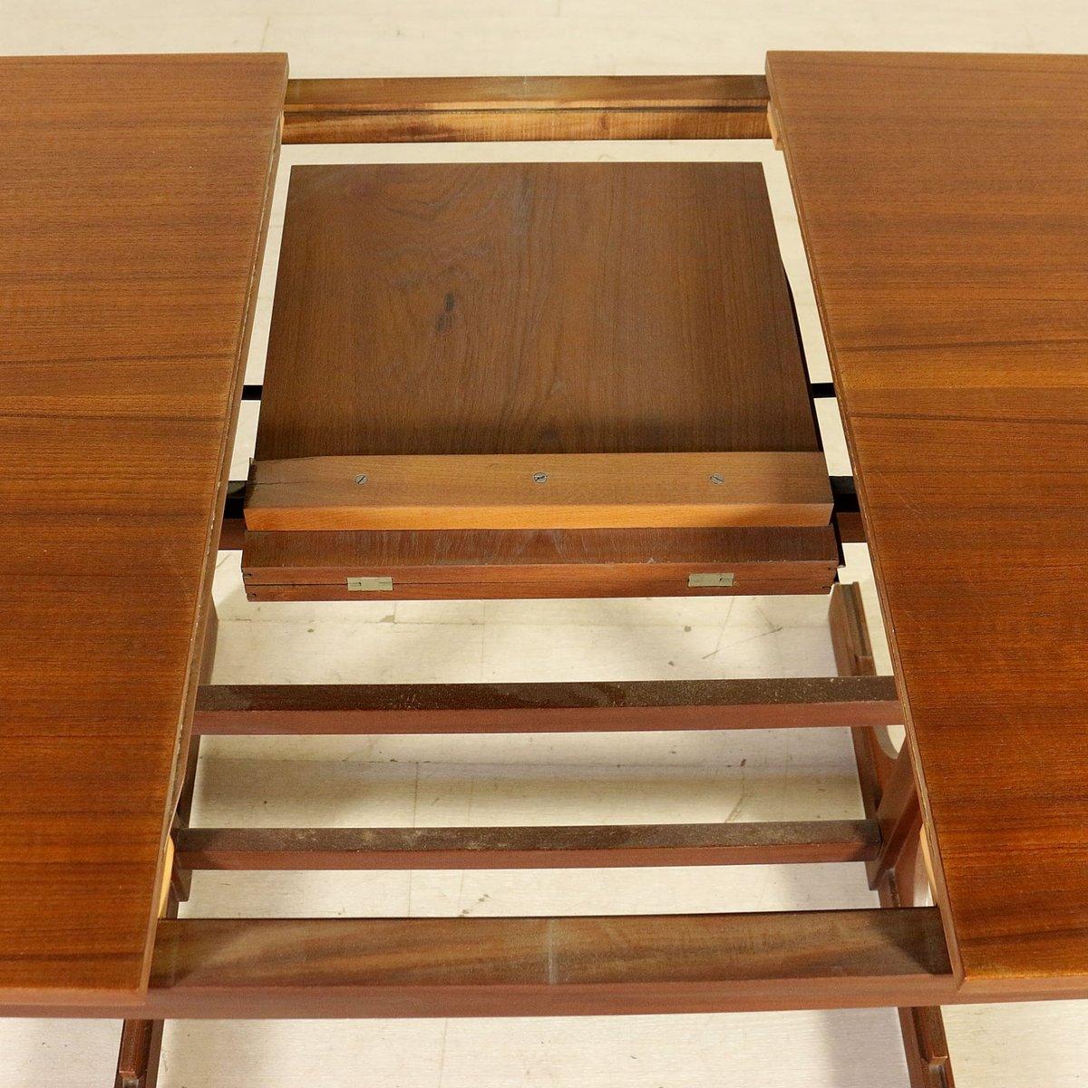Italian teak veneer solid wood extendable dining table