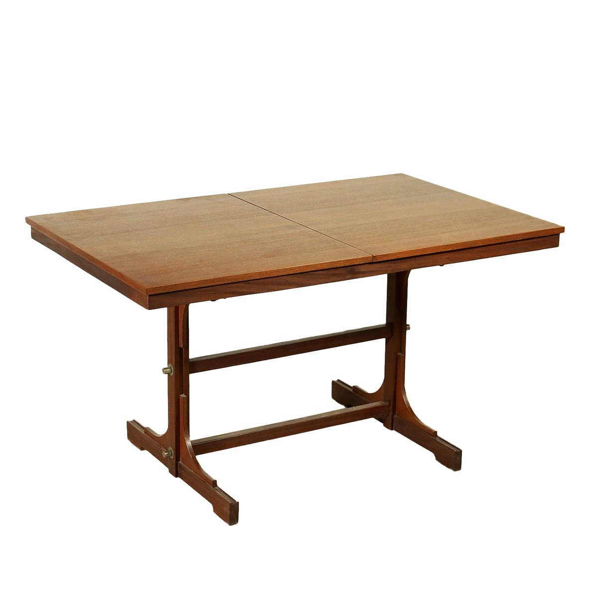 Italian teak veneer solid wood extendable dining table for Extendable dining table