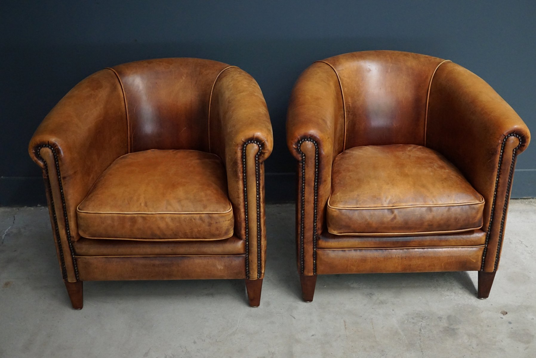 Vintage Cognac Leather Club Chairs Set of 2 for sale at Pamono