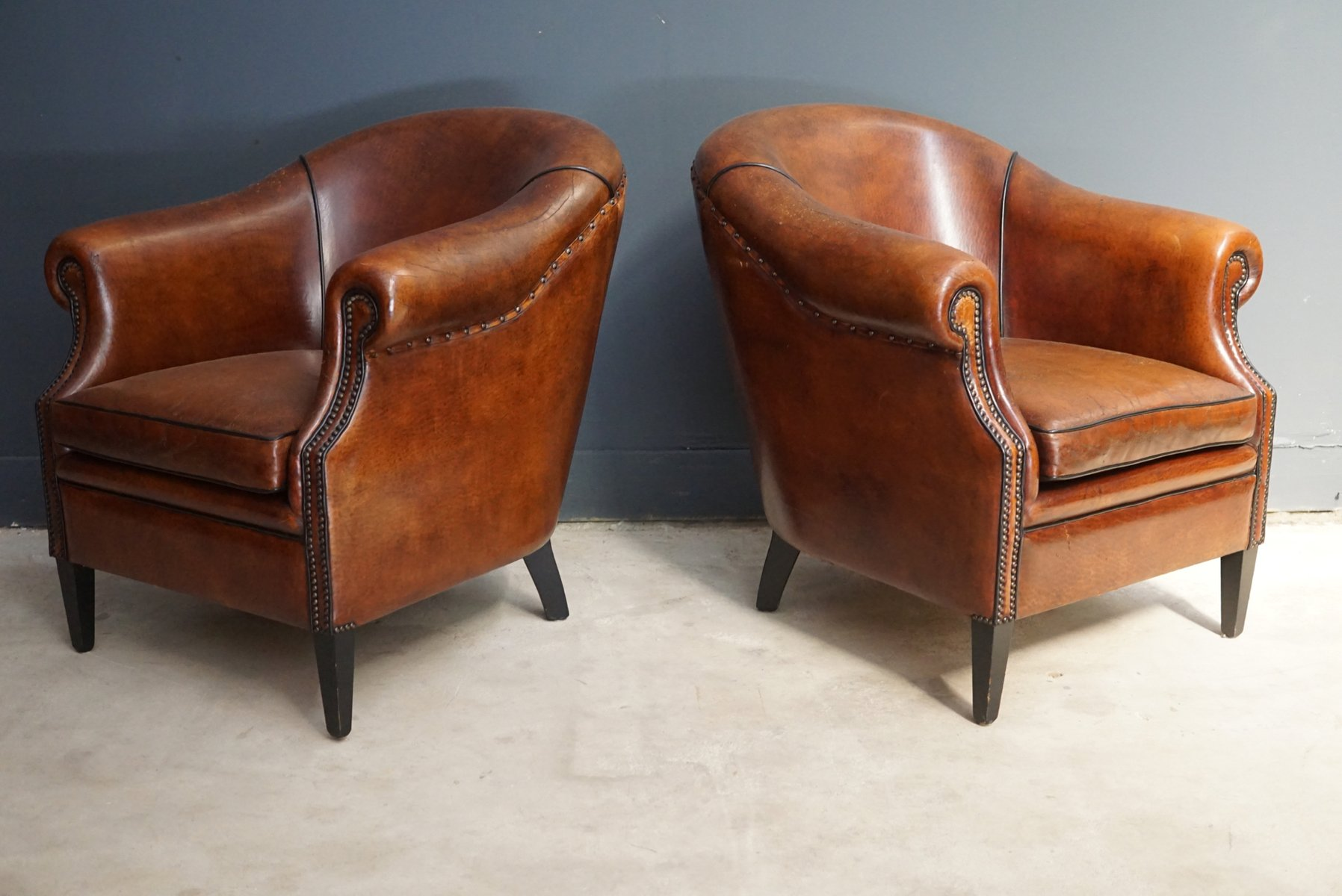 Vintage Cognac Leather Club Chairs, Set of 2 for sale at ...