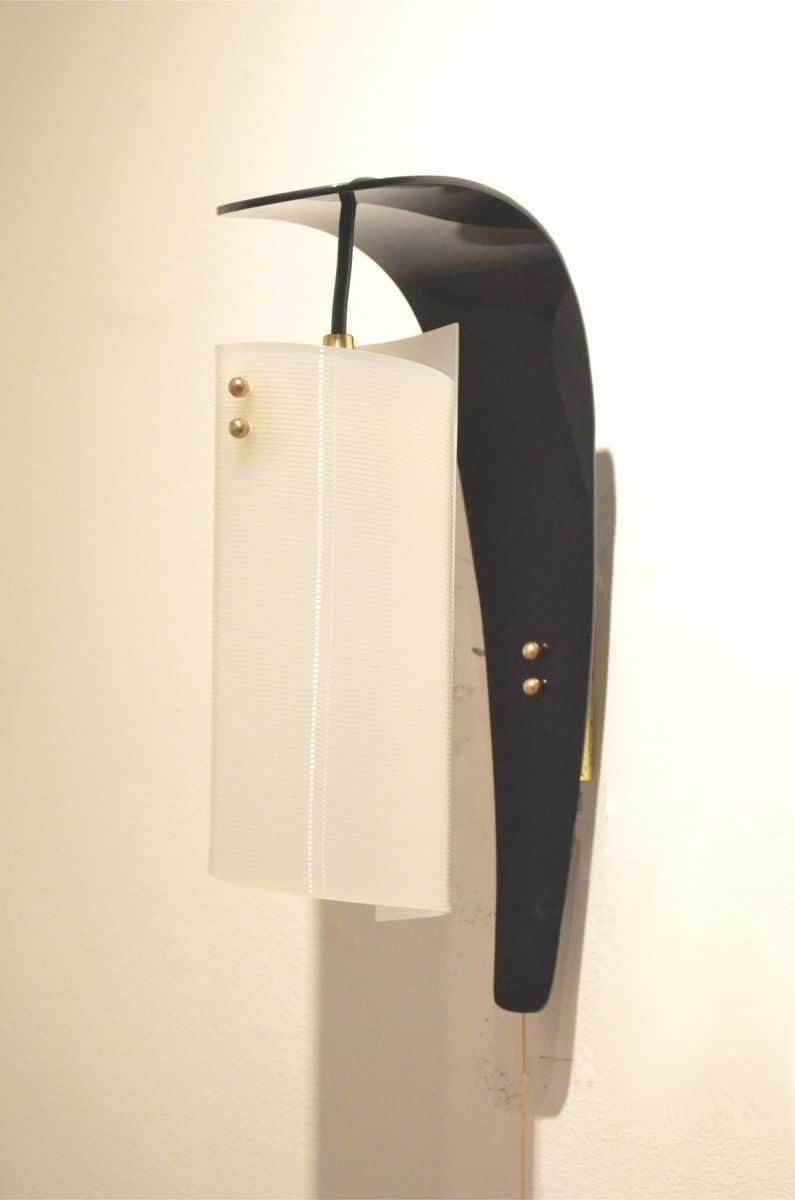 Vintage Black Wall Sconces : Vintage Italian Curvy Black & White Plexiglass Wall Sconces, Set of 2 for sale at Pamono