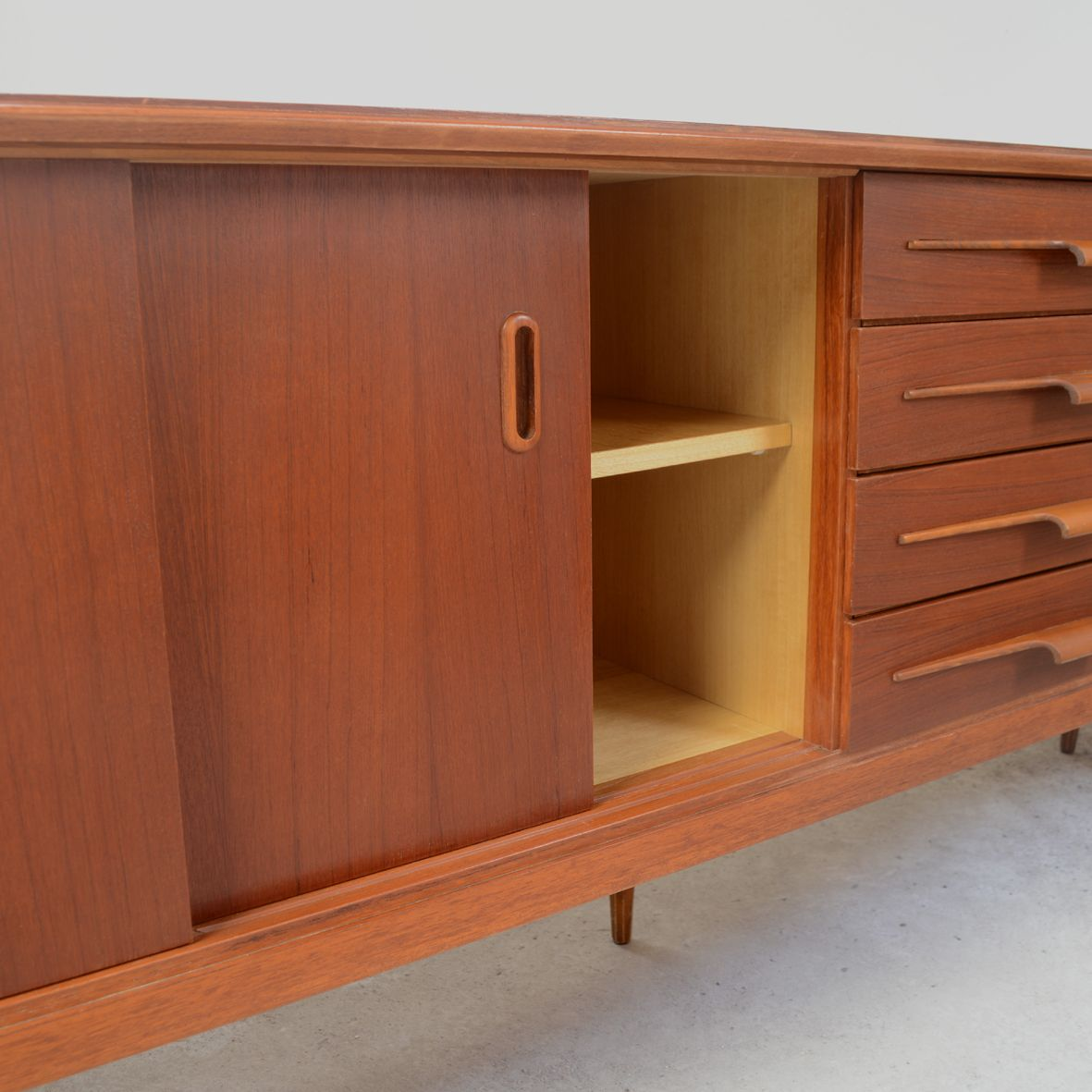 Scandinavian long teak veneer cabinet 1960s for sale at for 1960 kitchen cabinets for sale