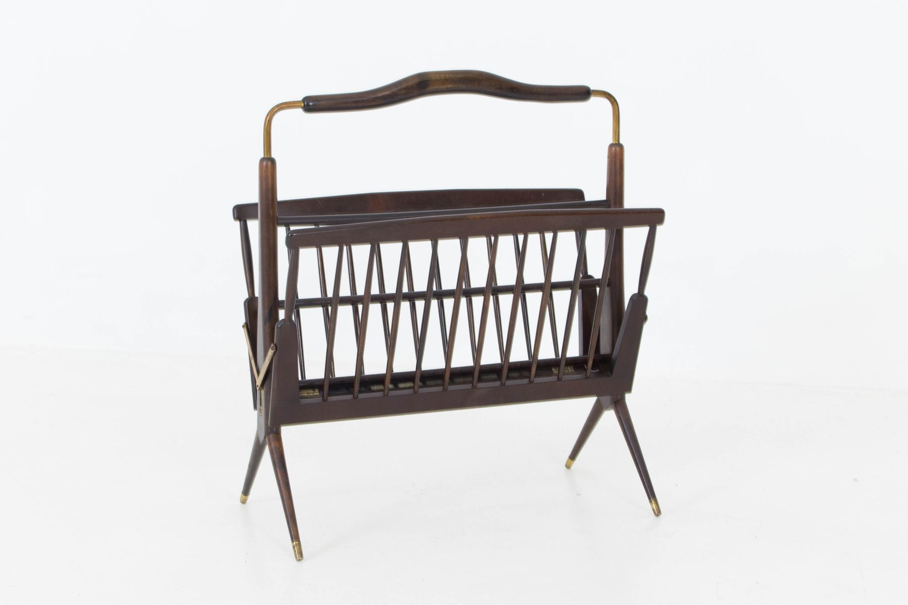 Italian Mid Century Modern Walnut Magazine Rack 1950s for sale at