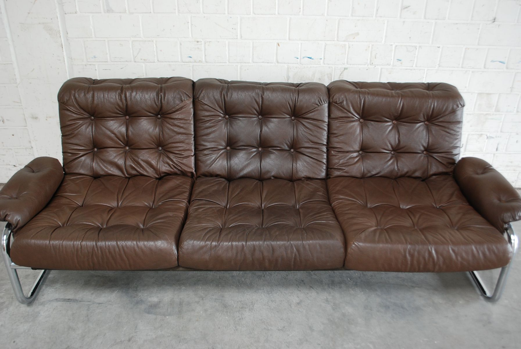 Vintage Leather U0026 Chrome Sofa From Ikea