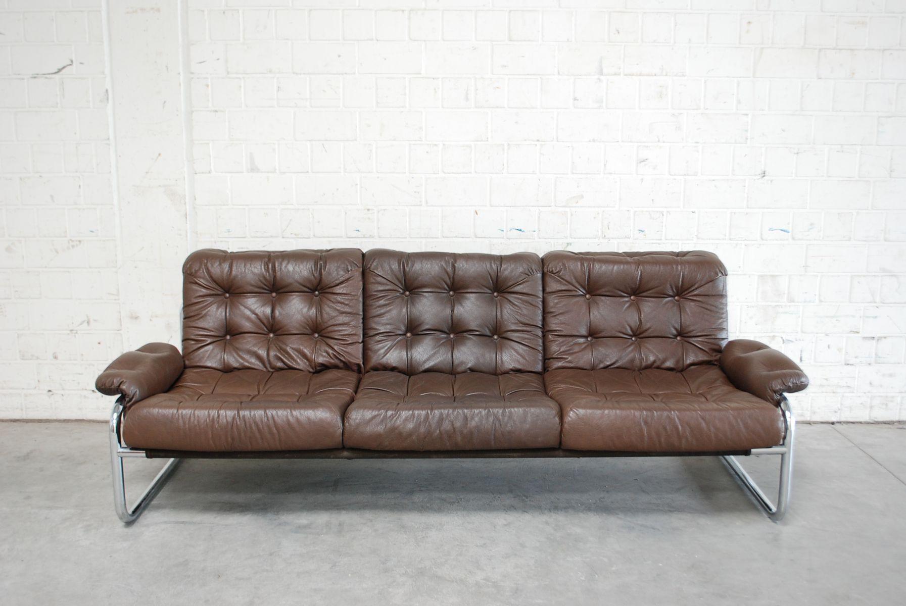 Vintage Leather U0026 Chrome Sofa From Ikea