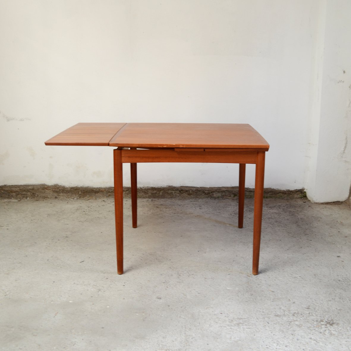 Mid century teak square dining room table by poul hundevad for Square dining room table