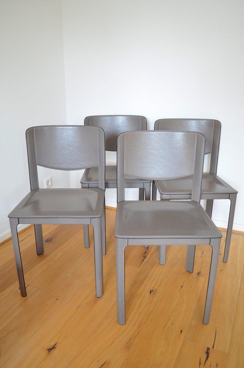 lederst hle von tito agnoli f r matteo grassi 1980er 4er. Black Bedroom Furniture Sets. Home Design Ideas