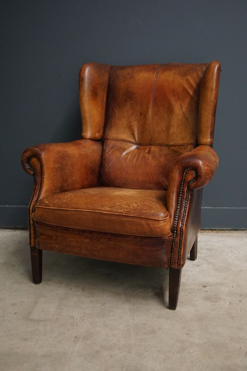 Dutch vintage cognac colored leather club chair for sale for Dutch design chair uk