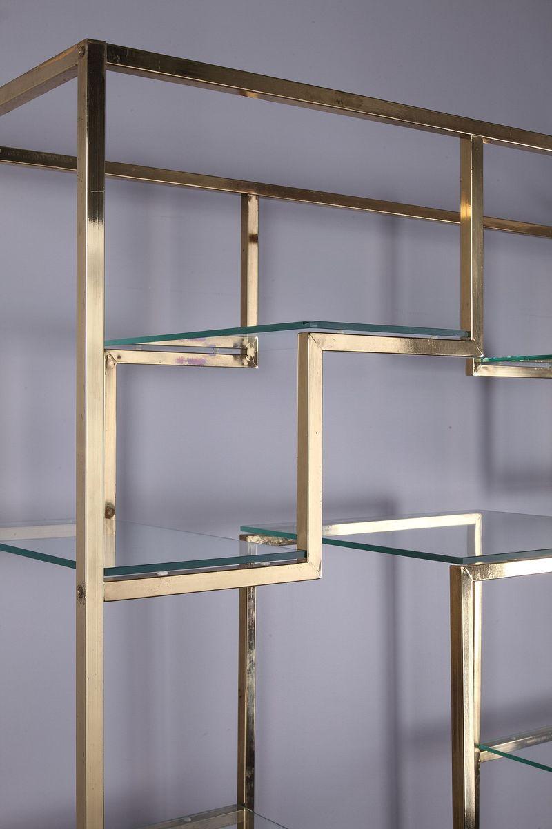 b cherregal aus glas und messing von kim moltzer 1970er bei pamono kaufen. Black Bedroom Furniture Sets. Home Design Ideas