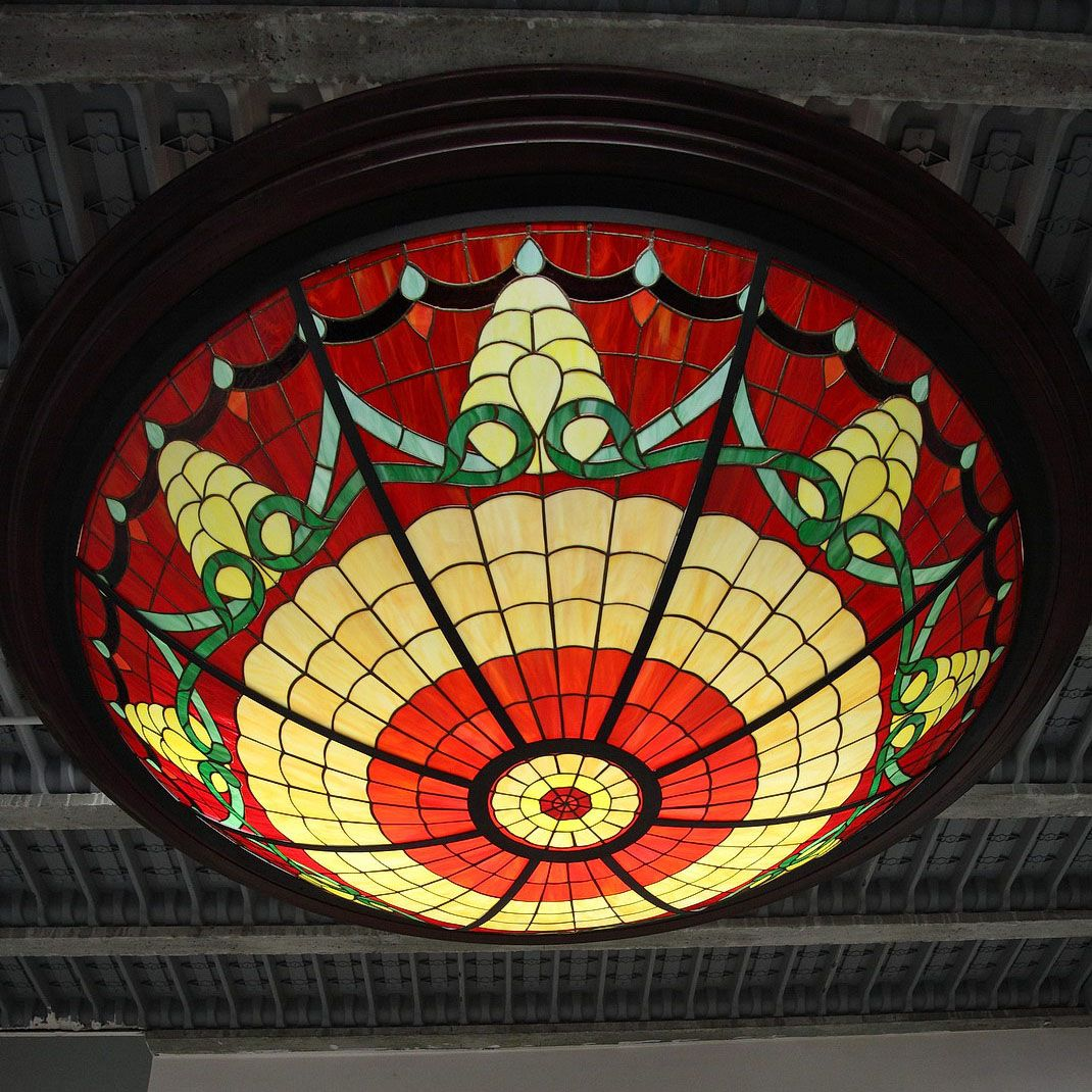 1980 S Stained Glass Lamp : Large stained glass ceiling light s for sale at pamono