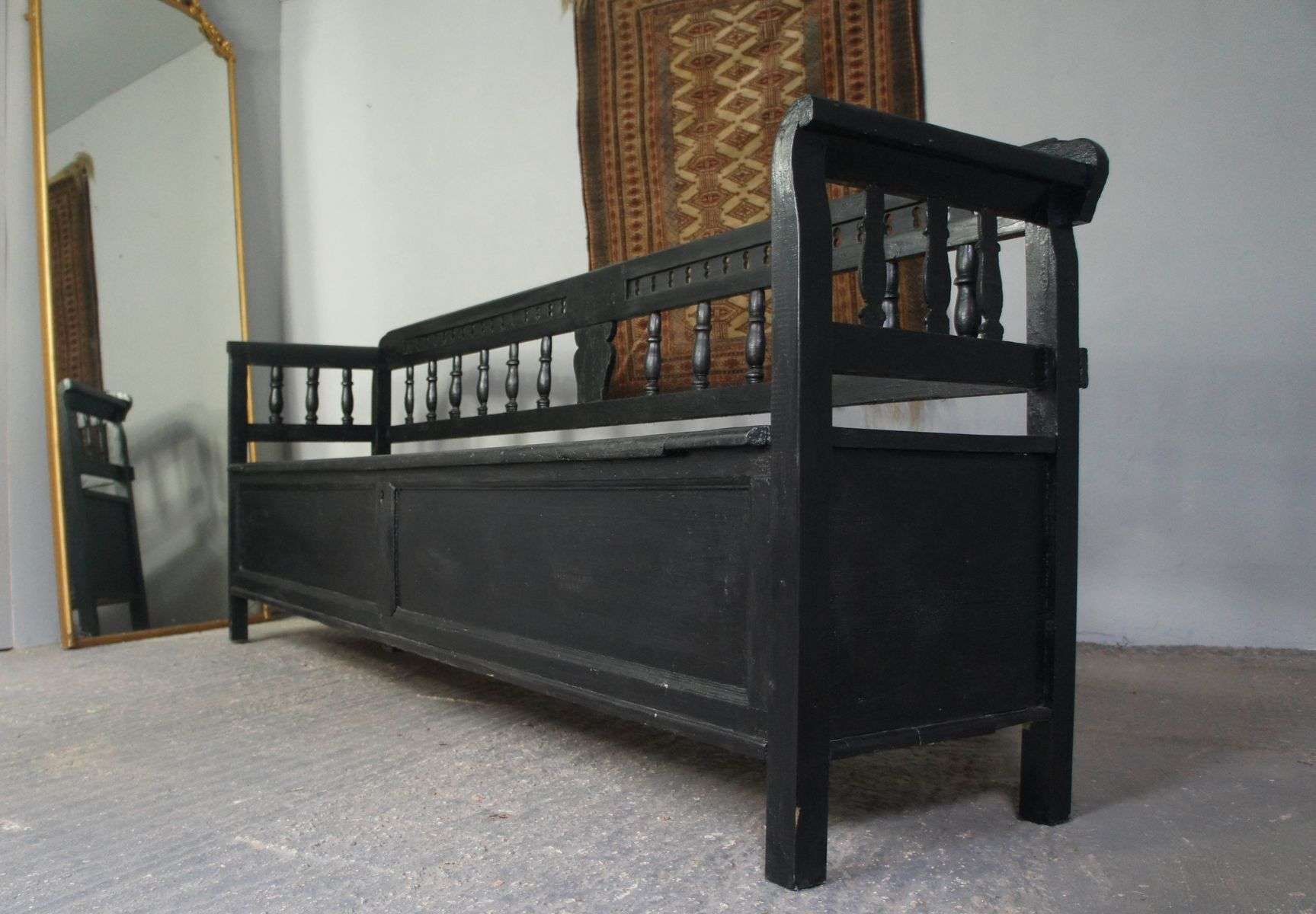 Large Antique Painted Pine Storage Bench For Sale At Pamono